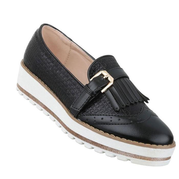 Femme chaussure bassechaussures Slipper Loafer noir 41