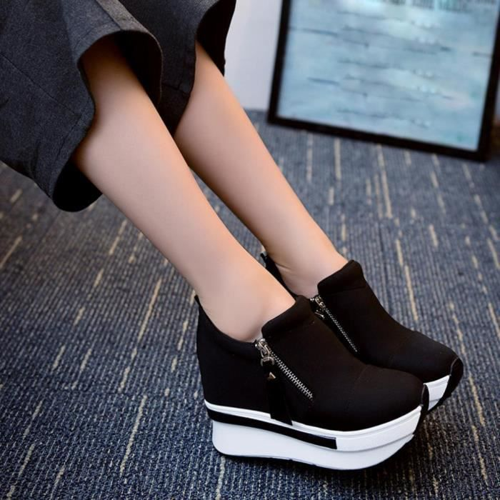 Femmes Wedges Bottes Chaussures Plate-Forme Slip On Bottines Mode Casual Chaussures @XYM71223901BK Lvq4Yq28