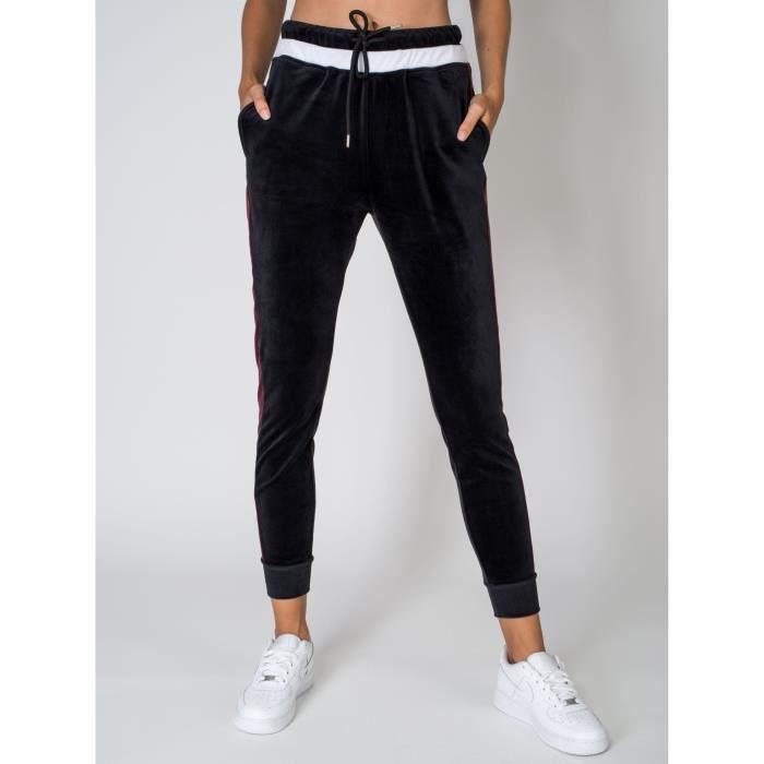 Pantalon de jogging en velours Femme Project X Paris (XS - Noir-Bordeaux) 33a02fac7877