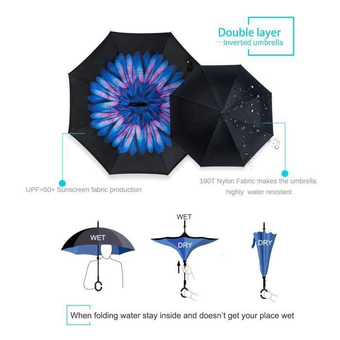 vent Forme Couche Parapluie Voyage Coupe Canne Voiture En Poignée double Idéal Mains Inversé Pour Et Libres C gwqARFnXw