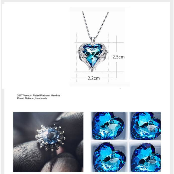 Collier Coeur Pendentif Cristal Bijoux Femme