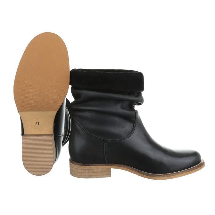 Femme chaussures bottillon cuir bottes noir 40