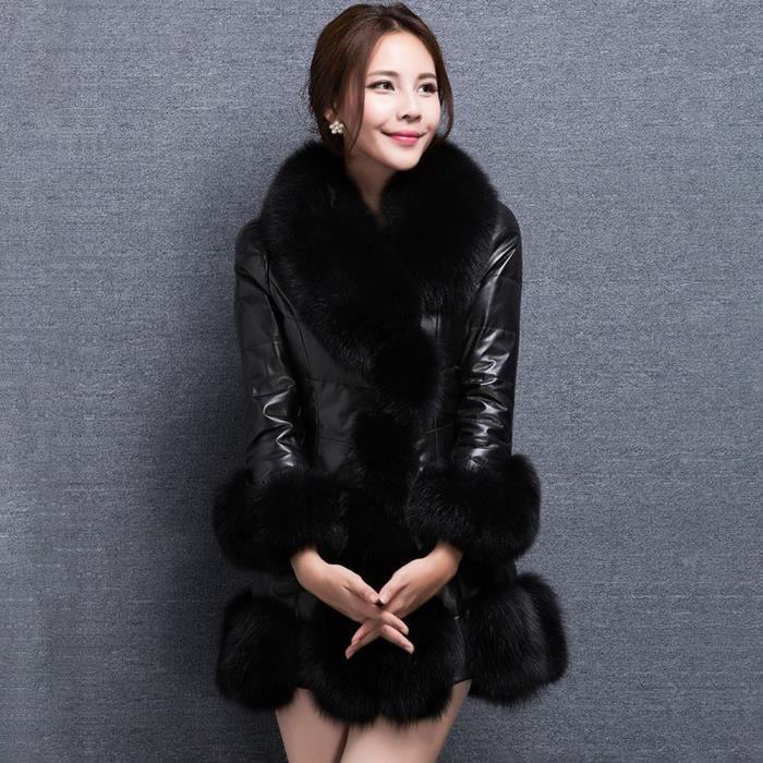 Bas Longue Doudoune Manteau noir Élégante Chaud Fausse Femmes Splice Fourrure vêtement Veste Le En Vers TqrBUOW5q