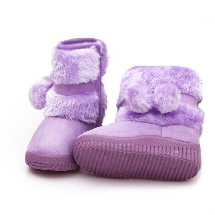 Hiver Bottes Enfants En Peluche Chaussures Filles Garçon Bottines DTG-XZ095Violet26