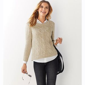 PULL Pull tressé grosse maille manches longues femme e2bd8f337329