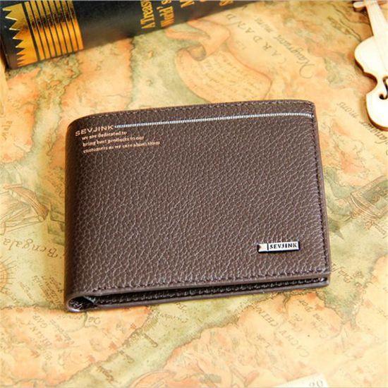 c848bf42fa1 Portefeuille homme portefeuille homme luxe Haut qualité porte carte  bancaire homme de marque de luxe cuir Marron marron - Achat   Vente  portefeuille ...