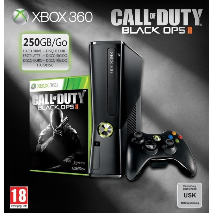 CONSOLE XBOX 360 PACK XBOX 360 250Go + CALL OF DUTY BLACK OPS 2