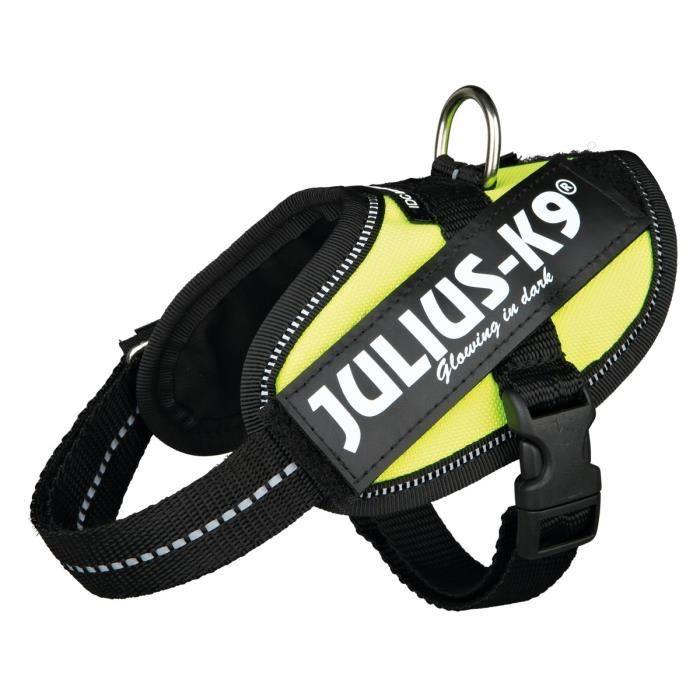 JULIUS-K9 Harnais Power IDC Baby 2/XS–S: 33–45cm jaune fluo pour chien