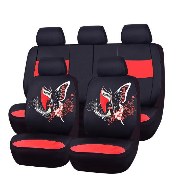 CAR PASS Housse siège auto universelle, Conception unique de papillons, Compatible Airbag, Noir et rouge