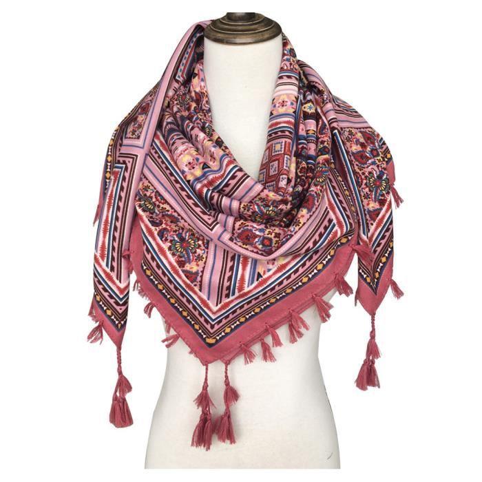 4efc89a0c038 Foulard femme carré écharpe soie 105x105cm GOGOU XY2017-001 cotton ethnique  gland Vin rouge
