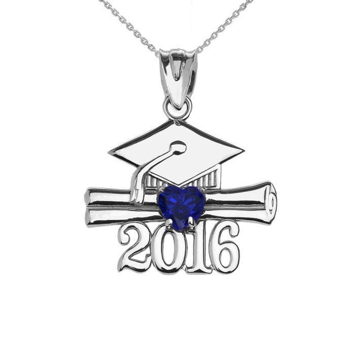 Collier Femme Pendentif 925 Argent Fin Cœur Septembre Pierre De Naissance Bleu Oxyde De Zirconium Classe De 2016 Graduation (Livr...