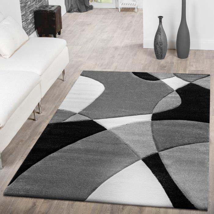 tapis moderne abstrait noir blanc 200x290 cm achat vente tapis cdiscount. Black Bedroom Furniture Sets. Home Design Ideas