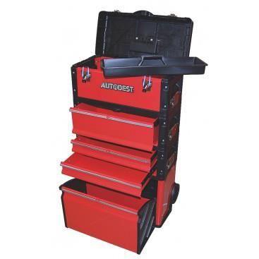 caisse outils roulettes acier rouge 4 tiroirs taille 510x300x890 mm achat vente boite a. Black Bedroom Furniture Sets. Home Design Ideas