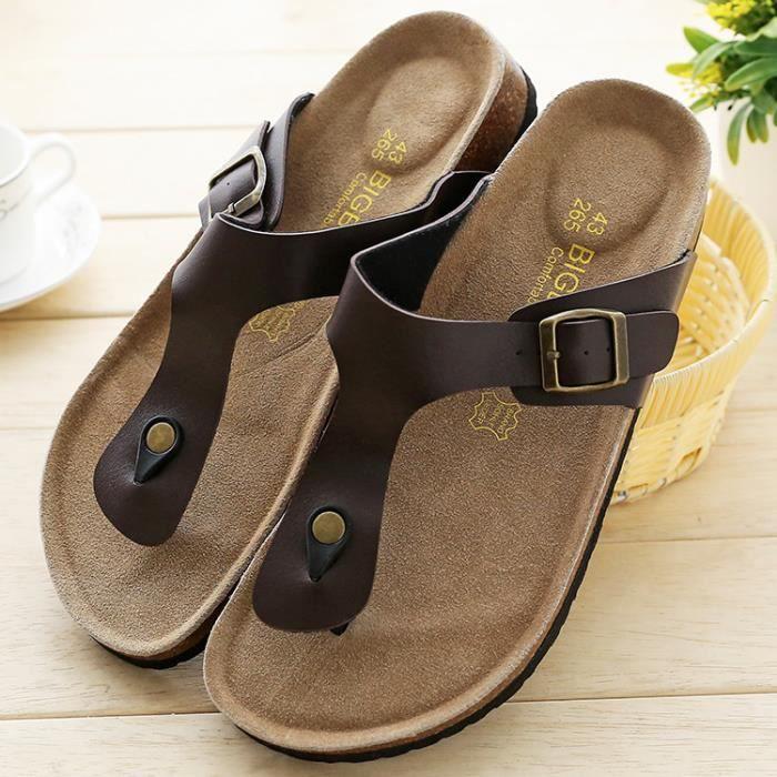 Tongs liège sandales pantoufles d'été des hommes wvOaEIAoF