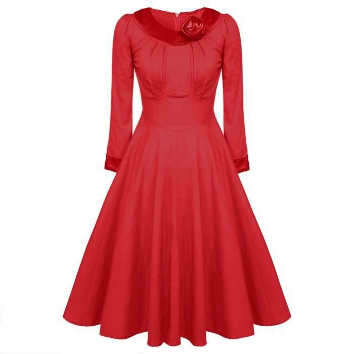 robe vintage femme classique avec ceinture Rouge