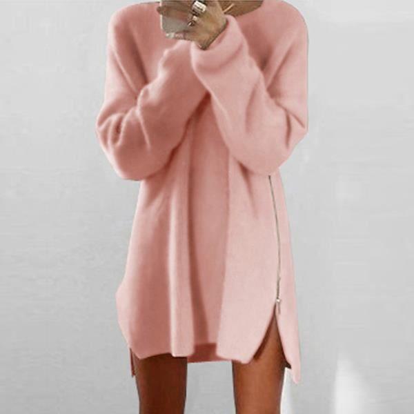 Perdre chaud au-dessus de genou plaine de Polyester tricoté robes pull à capuche femmes (Rose XXXXL)
