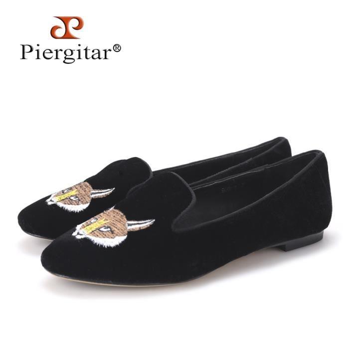 New Fashion Lady chaussures de velours brodé avec Fox Motif Femmes Mocassins Party femmes et appartements de mariage r8tp50H50