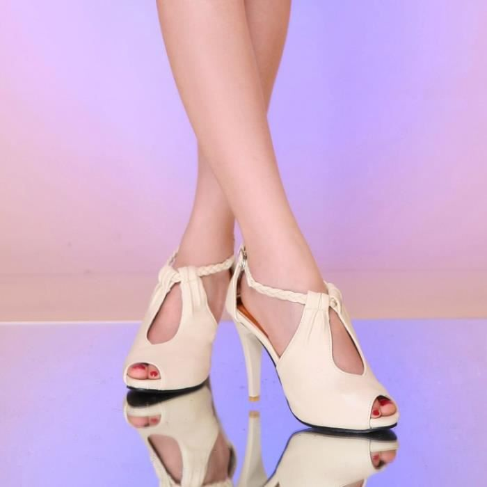 Sandales femme nouvelle boucle de ceinture mince creux sexy à talons hauts