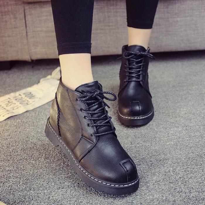 Femme Chaussures à talons Chaussures à lacets Bottes à l'automne Four Seasons Chaussures noir