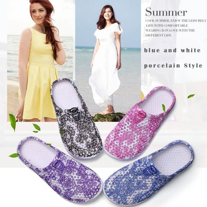 Sandale Femme Été Femmes Chaussons Bleu et Blanc Porcelaine respirante Mesh de plage trou gris taille7