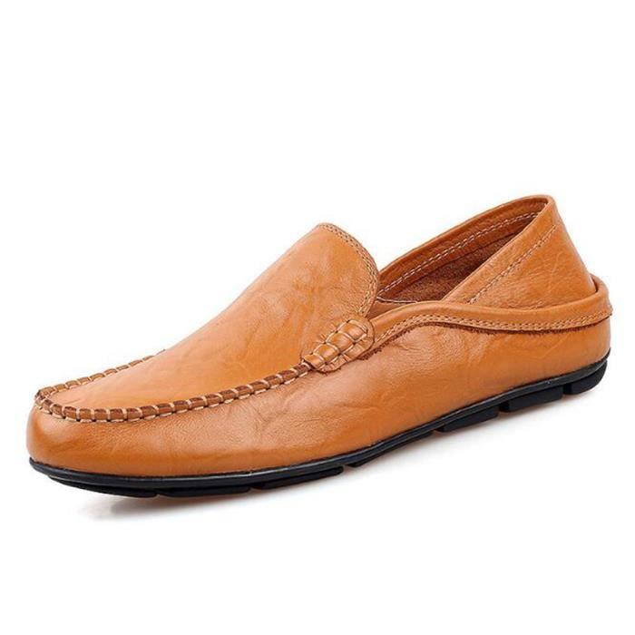Mocassins Hommes Cuir Printemps Ete Leger Mode Plat Chaussures TYS-XZ078Marron42 ukr6Hkpr