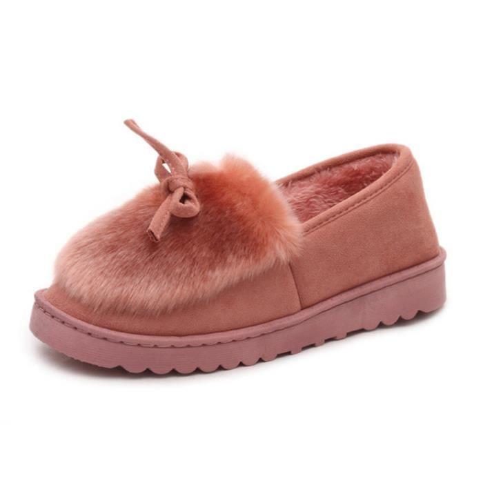 Hiver Chaussures xz065noir37 Bxfp Fond Femme Chaussure Peluche Épaisé Rose O55Uq