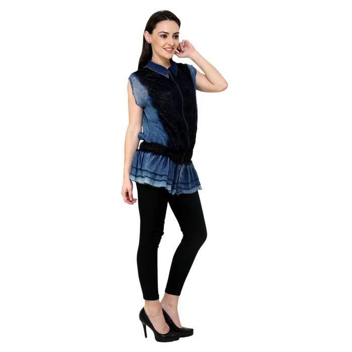 Denim Denim Femmes Shirt Robe à col brodé 1MLCD3 Taille-34