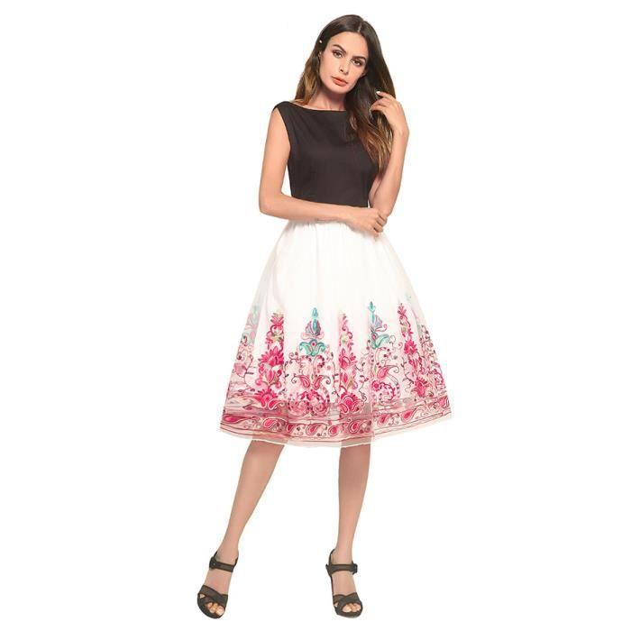 c647abd6d0a Robe Femme Chic Femmes Mode Longueur Genou Casual O Cou A Line Fleurs Robe  Courte (Rouge+Blanc L)