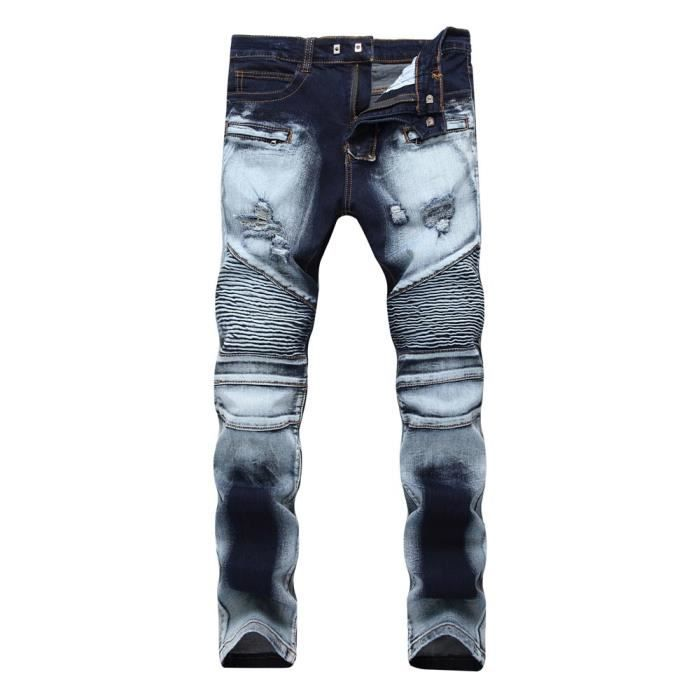 06909ec7e56 Jean Déchiré Homme Slim Fit Stretch Effet Délavé Froissé Jeans Fashion Avec  Zippé