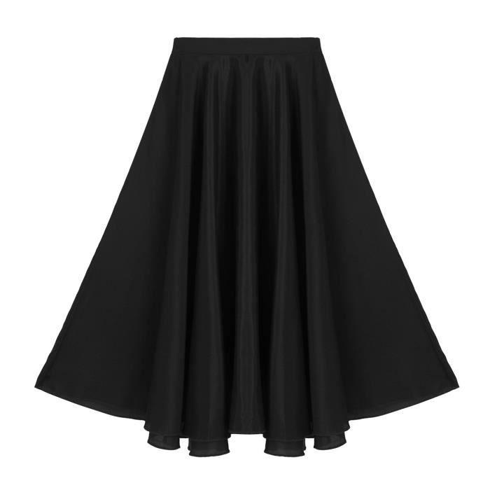 152ad3f2a6d8f Jupe de danse Enfant Fille Jupe longue plissée 6-14 ans Noir Noir ...