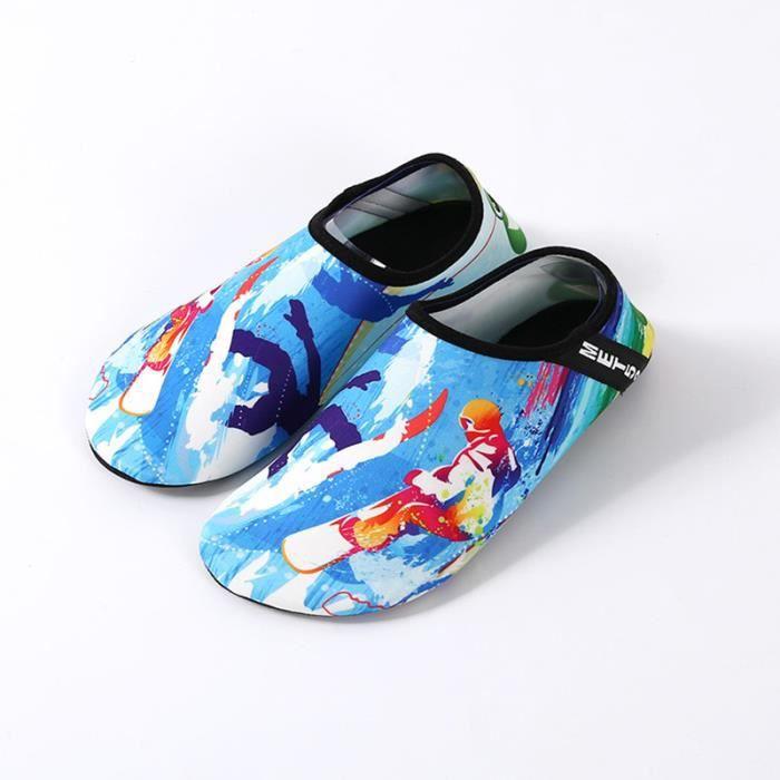 d83ae3e7b3 chaussons de plongée Chaussures aquatiques Femme Homme Sports nautiques  chaussettes d'eau Nager Surf Plage Séchage Rapide Bleu