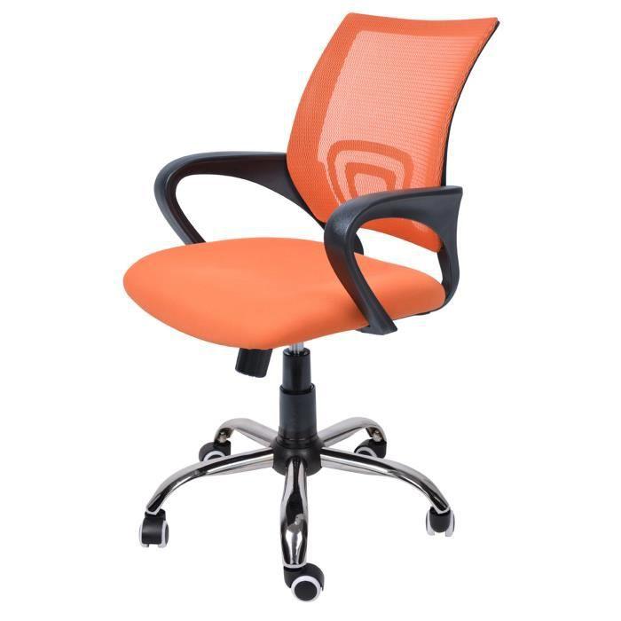 De Chaise 98 DimL Bureau En 60 X P 49 88 Tissu Orange MailleSur Cm Roulettes Et lTKFJc3u1