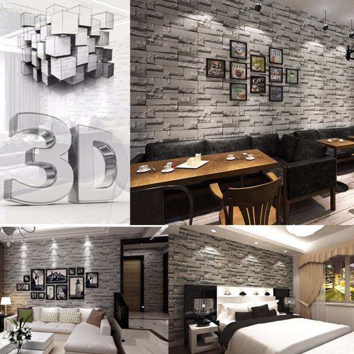 0.53*10m 3D Brique Papier Peint Fond Mur Wallpaper Pr Decoration Salon  Hôtel Bar