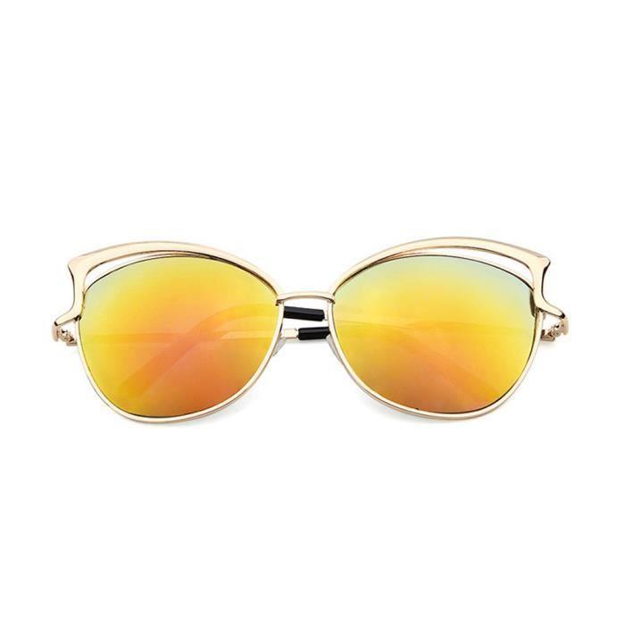 Lunettes de soleil de mode de femmes de chat doreille de trame en métal de lunettes de soleil de la marque Classic Tone orange