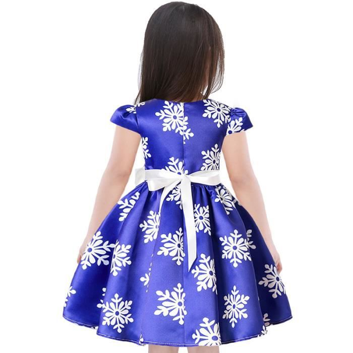 Robe Fille Impression de Neige Bowknot Robe Fille 4-14 ans