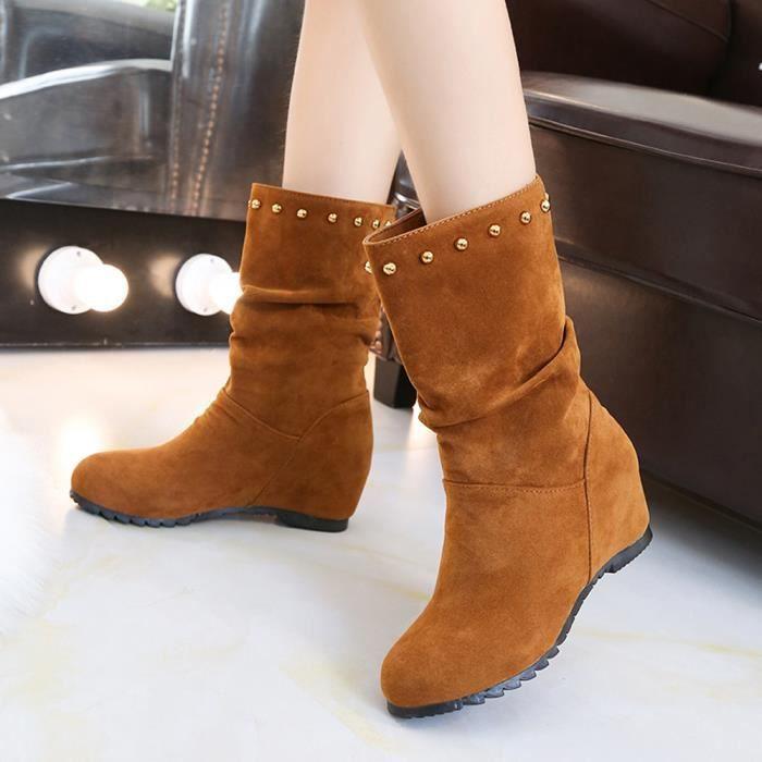 Bottillons Toe Rivers Suede Marron De Round Chaussures Keep Shoes Color Compensées Femmes Pure Chaud tRBXwn