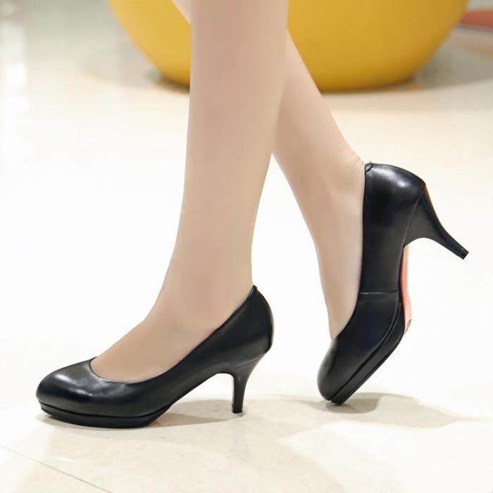 Noir orteil femmes rondes 8cm bas talon chaussures chaussures de soirée