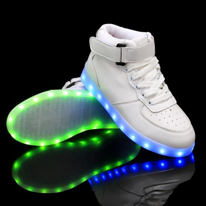 Sneaker chaussures lumineusesLED en cuir synthétique chargeur USB zR0ia