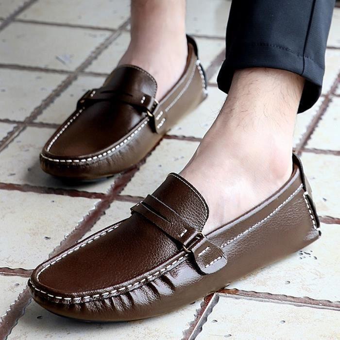 Chaussures pour hommes en cuir véritable Chaussures plates confortables mocassins respirante hommes Flats Plus Size 38-48,café,12.5