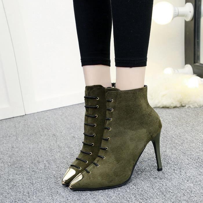 2017 automne nouveaux rivets en daim fines avec des bottes européennes et américaines femme bottes pointues à talons hauts
