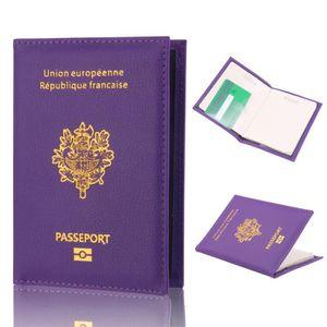 Fg1001 motif litchi porte passeport titulaire du passeport sac de passeport  étui d identité violet af83e80e6e4