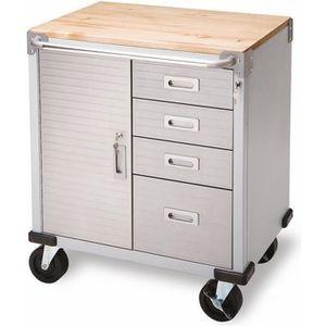 DESSERTE CHANTIER Servante atelier 4 tiroirs + 1 compartiment  plate