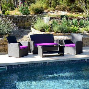 Salon de jardin Ibiza Gris et Violet - 4 pièces - Achat / Vente ...