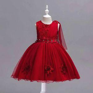 905fe129340ac ROBE DE CÉRÉMONIE Robe Pour Fille - Rouge Cardinal - en Satin Raffin