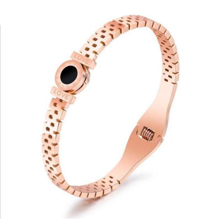 raceletChiffres romains en creux circulaire du bracelet en or rose noire, Mme Claiborne cadeau danniversaire