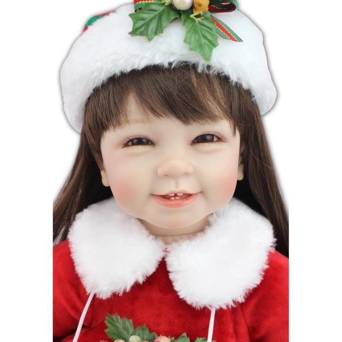 d763eb9e75064 22 polegada 55 cm Silicone bébé Reborn poupées de noël Dress Up ...