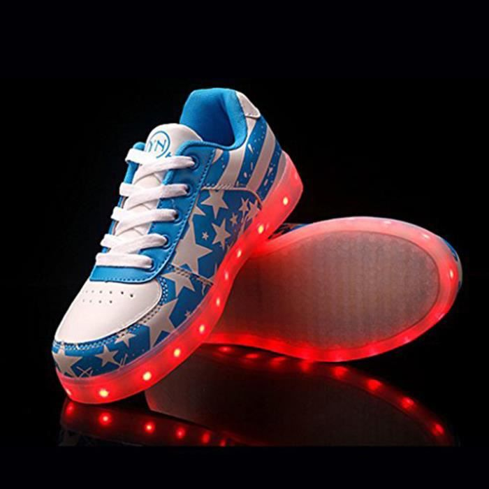Fashion 7 couleurs LED Chaussures lumineuses hommes / femmes USB de charge Light-up Lovers Sneakers