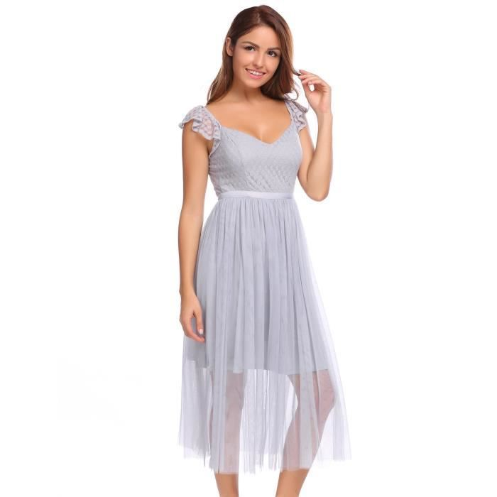 Femme Robe maille Sexy en tulle à plusieurs couches
