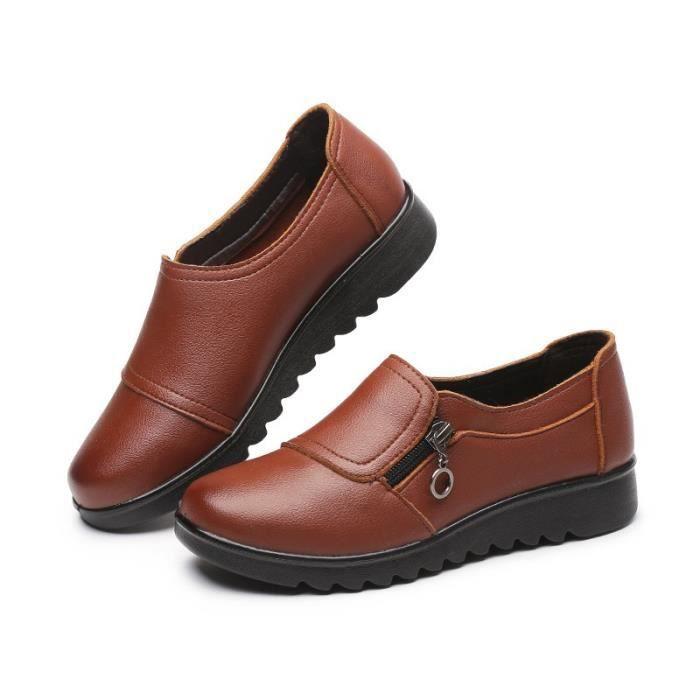 PU Chaussures en cuir femme Enfilez Mocassins confortables Chaussures maman plate-forme Flats chaussures femmes,noir,35