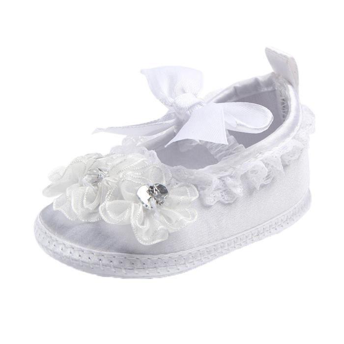 BOTTE Nouveau-né bébé Prewalker Soft Bottom anti-dérapant Chaussures Fille Big Flower Chaussures@BlancHM UHFSb1